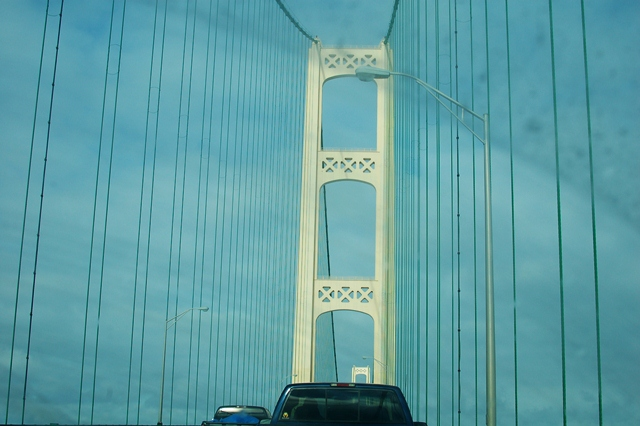 Crossing the Mackinac  Bridge!