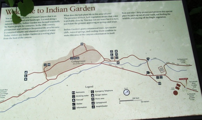 Indian Gardens map at the entrance to the campground!