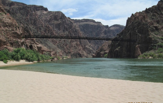 Looking back at the beach and bridge as I head to the Phantom Ranch
