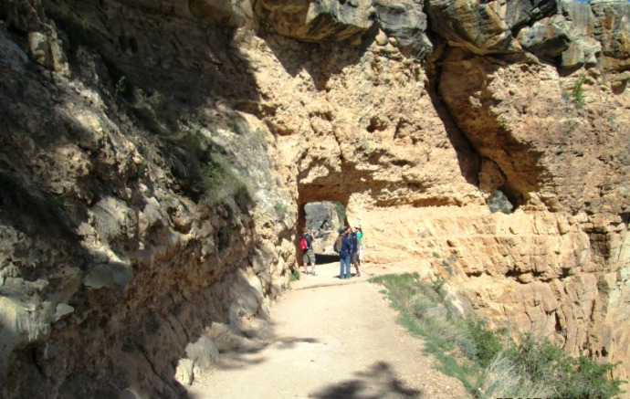 Looking back at the first tunnel heading down on the Bright Angel Trail
