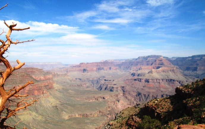 Looking out across the Canyon from a point on the South Kaibab Trail.
