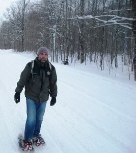 Snowshoeing the Roads and Trails in UP Michigan!  Renting Shoes from a local sporting goods store!